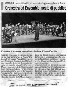 la prealpina - concerto per rassegna endas teatro apollonio varese 10-01-2011